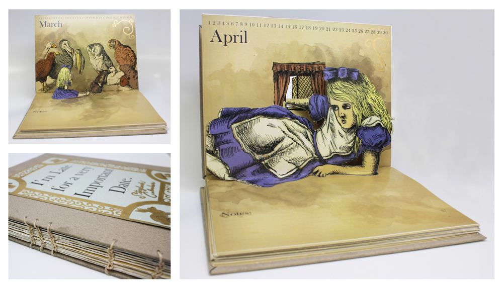 Calendar with Alice in Wonderland illustrations. LSU BFA Studio Art Graphic Design