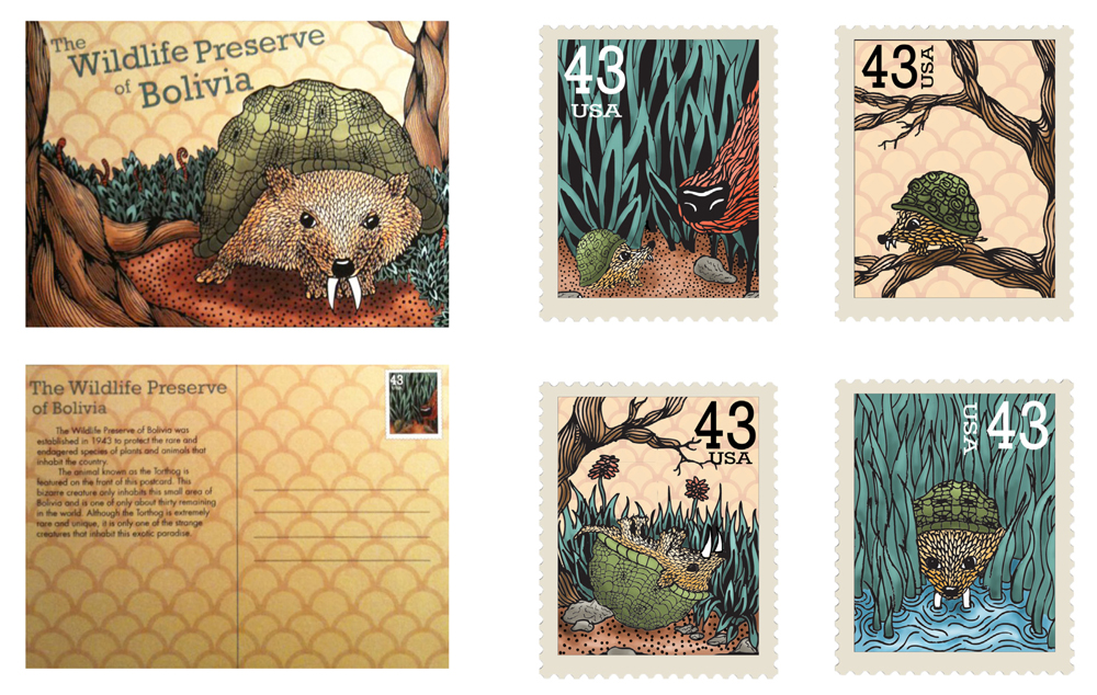 Design for the Wildlife Preserve of Boliva, with animal graphics, stamps, postcards. LSU BFA Studio Art Graphic Design