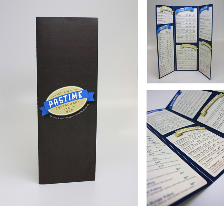 Pastime Restaurant menu design. LSU BFA Studio Art Graphic Design