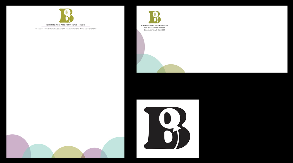"Logo, envelope, letterhead with brand B with balloon, ""Birthdays are our business."" LSU BFA Studio Art Graphic Design"