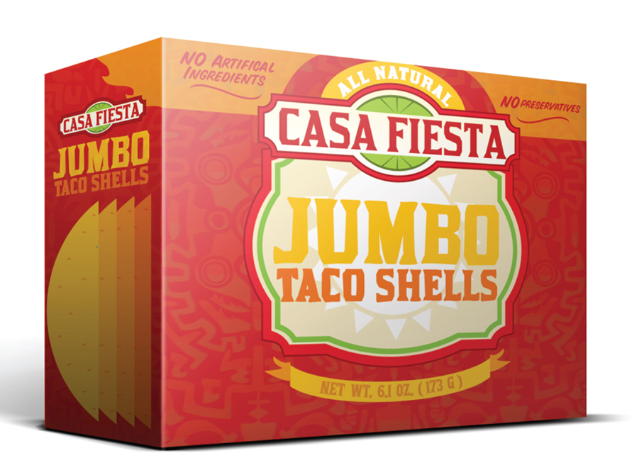 Package design for Casa Fiesta jumbo taco shells. LSU BFA Studio Art Graphic Design