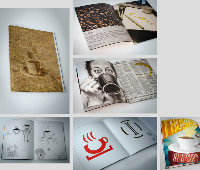 Photos of book with coffee illustrations. LSU BFA Studio Art Graphic Design
