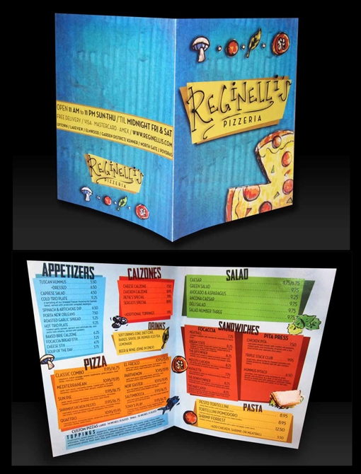 Menu design for restaurant Reginelli's Pizzeria. LSU BFA Studio Art Graphic Design