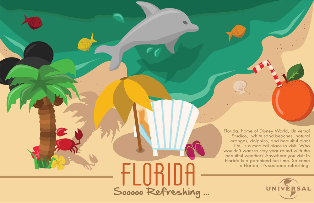 Tourism poster for Florida with beach graphic with palm tree, beach chair, orange with straw, crab, dolphin, shells. LSU BFA Studio Art Graphic Design