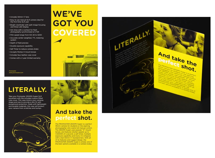 "Black and yellow brochure design ""we've got you covered, Literally. And take the perfect shot."" LSU BFA Studio Art Graphic Design"