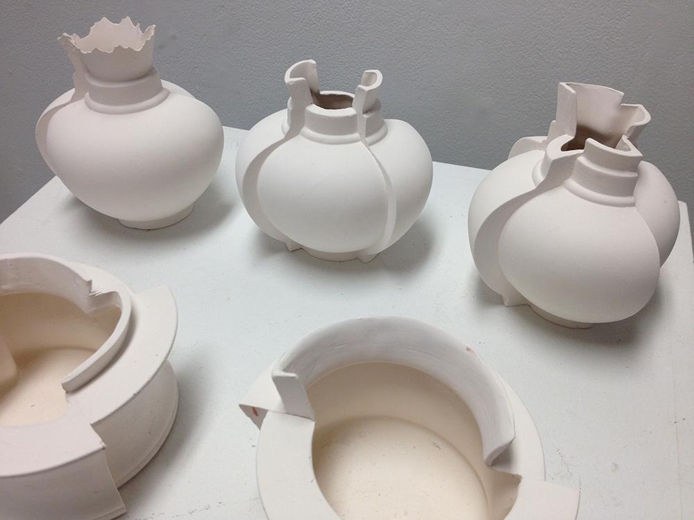 White vases, LSU BFA Studio Art Ceramics