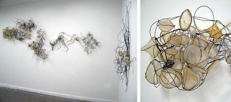 Twisted wire installation on wall. LSU BFA Studio Art Sculpture