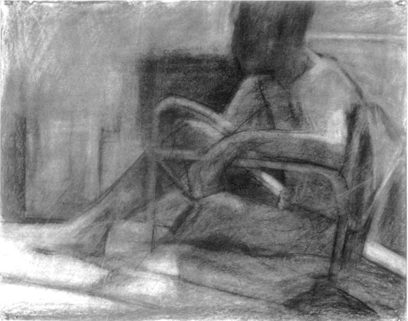 Faded charcoal drawing of seated figure. LSU BFA Studio Art Painting Drawing