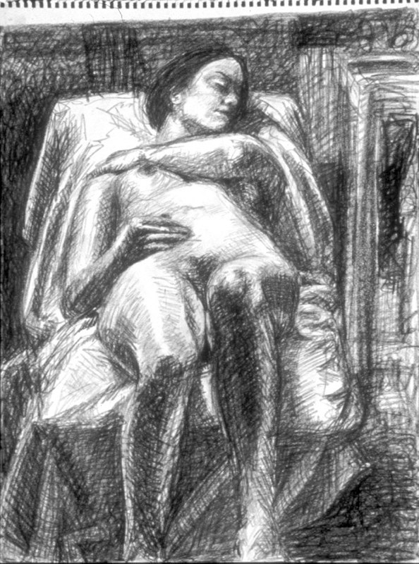 Drawing of reclined female figure. LSU BFA Studio Art Painting Drawing