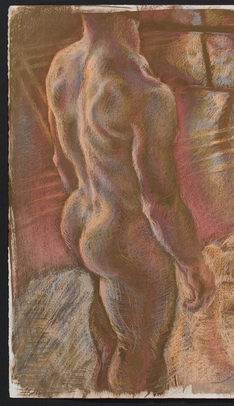 Colored chalk drawing of figure. LSU BFA Studio Art Painting Drawing