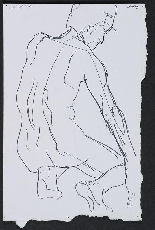 Ink drawing of crouching figure. LSU BFA Studio Art Painting Drawing