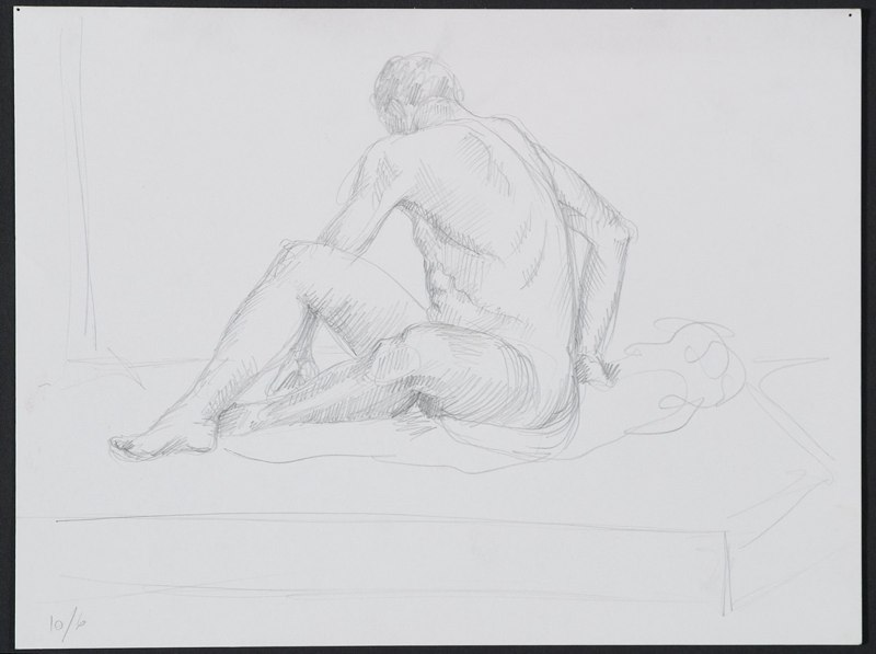 Sketch of seated figure. LSU BFA Studio Art Painting Drawing