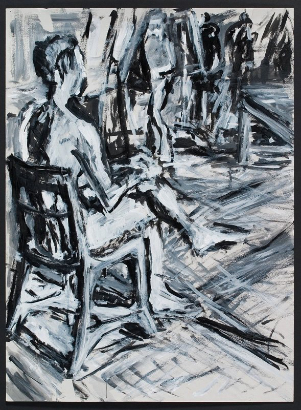 Blue and black drawing of seated figure. LSU BFA Studio Art Painting Drawing