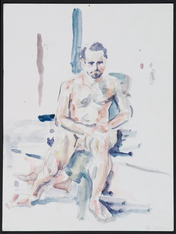 Watercolor of seated figure. LSU BFA Studio Art Painting Drawing