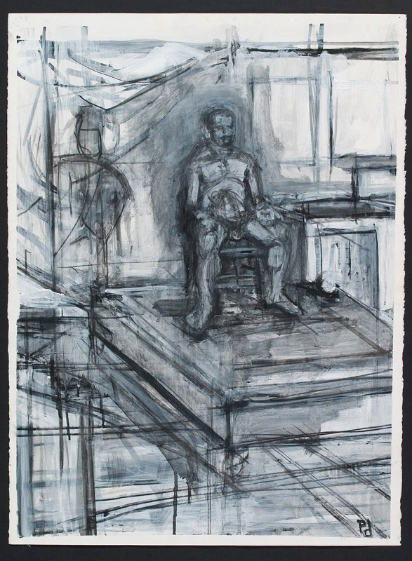 Charcoal drawing of seated figure. LSU BFA Studio Art Painting Drawing
