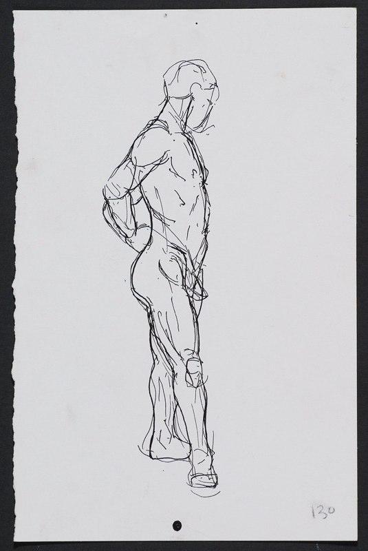 Ink drawing of standing male figure. LSU BFA Studio Art Painting Drawing