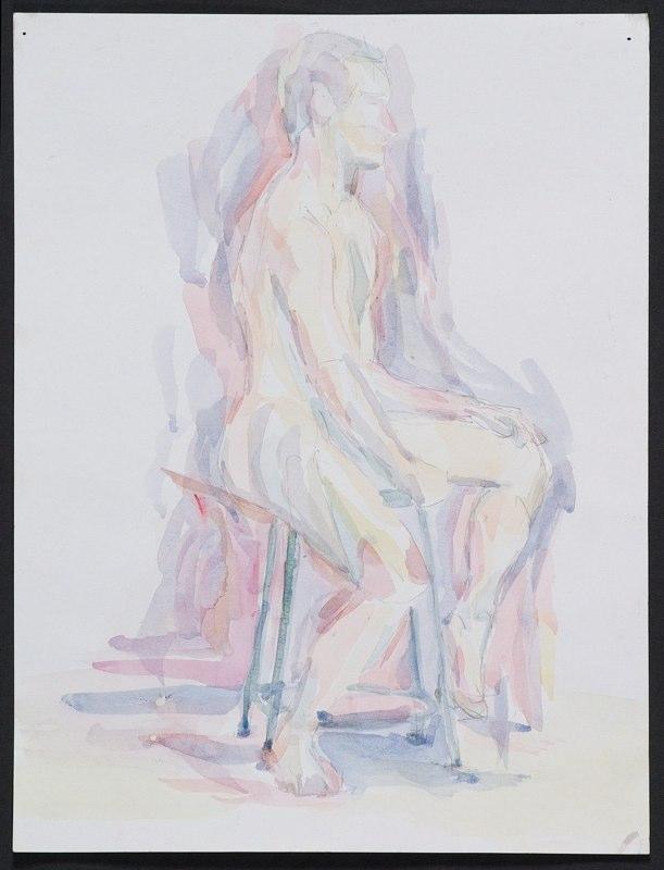 Watercolor painting of seated figure, LSU BFA Studio Art Painting Drawing