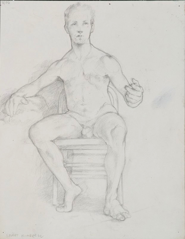 Drawing of seated nude male. LSU BFA Studio Art Painting Drawing