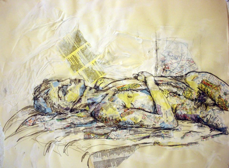 Painting of reclining male figure. LSU BFA Studio Art Painting Drawing