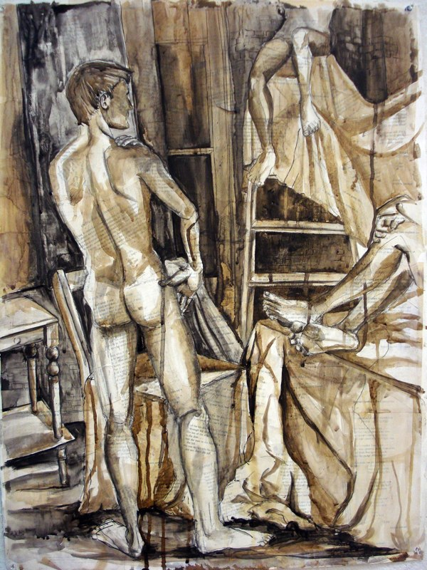 Painting of nude male, on newspaper. LSU BFA Studio Art Painting Drawing
