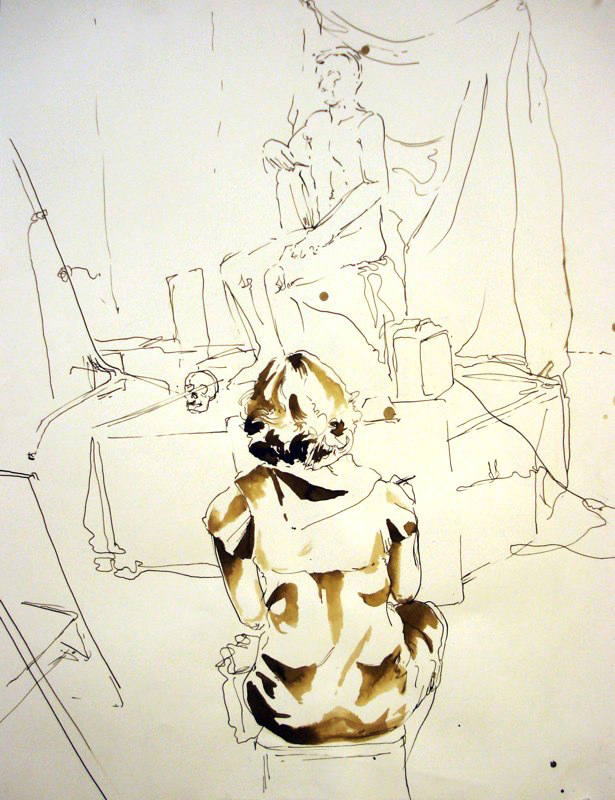 Figure drawing of artist's back, nude model in background. LSU BFA Studio Art Painting Drawing