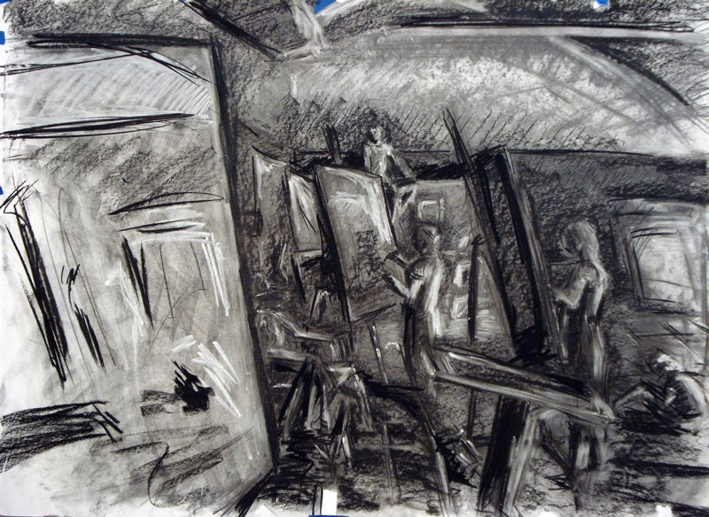 Charcoal drawing of figures at easels. LSU BFA Studio Art Painting Drawing