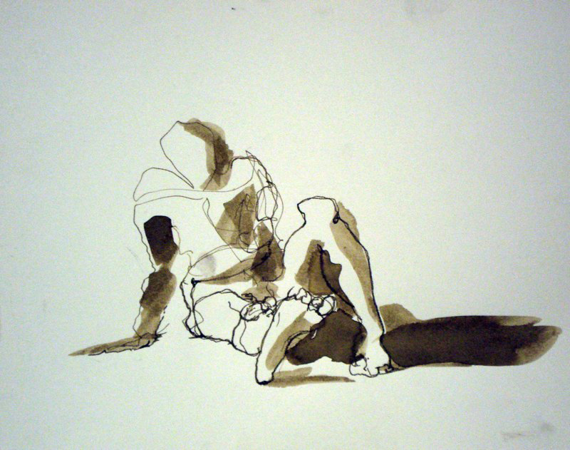 Ink figure drawing, abstract. LSU BFA Studio Art Painting Drawing