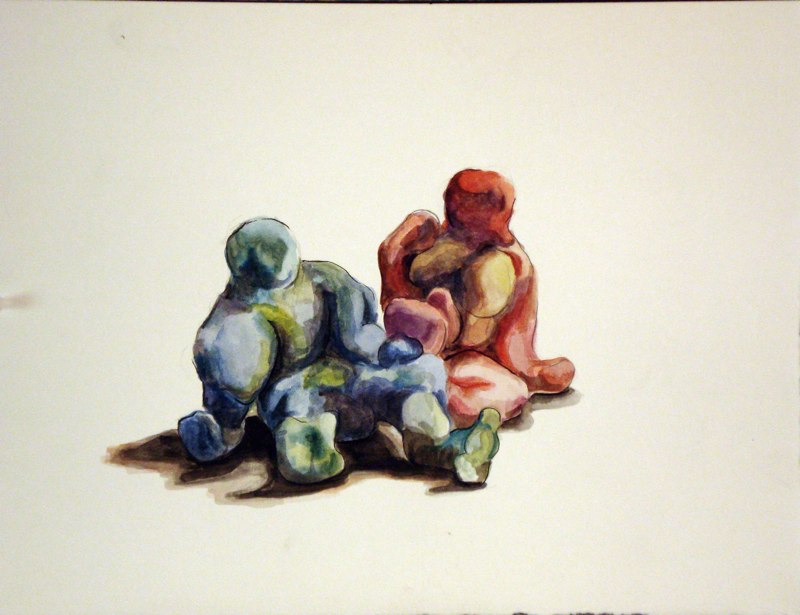Painting of colorful humanoid figures, LSU BFA Studio Art Painting Drawing work