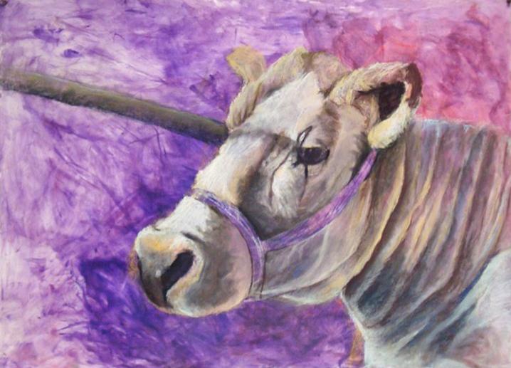 Painting of cow, purple background. LSU BFA Studio Art painting drawing