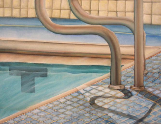 Painting of pool edge, tiled floor. LSU BFA Studio Art painting drawing