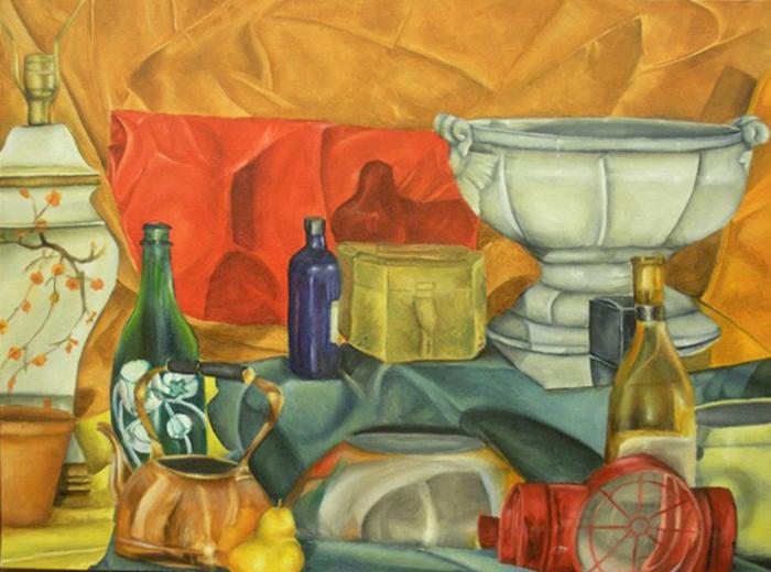 Still life painting of bottles, lamp, vase. LSU BFA Studio Art painting drawing