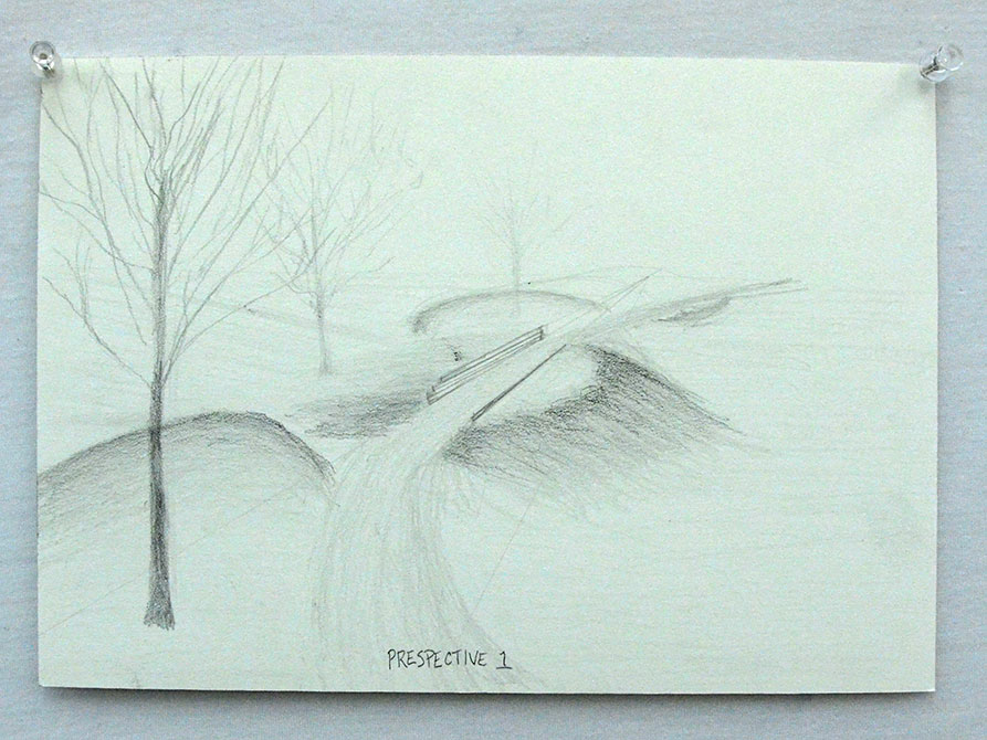 Sketch of trees with path leading into distance