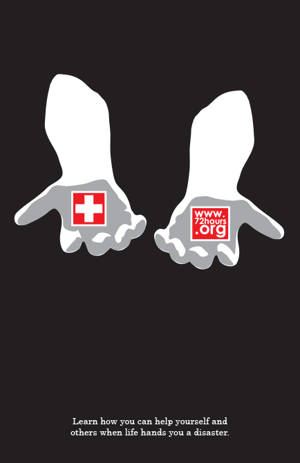 "Poster of hands holding red cross symbol and ""www.72hours.org"" - LSU BFA Studio Art Graphic Design"