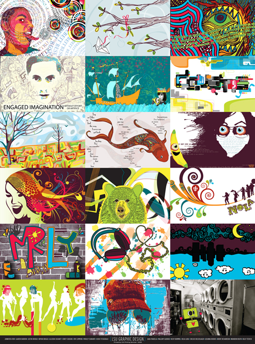 Poster with thumbnails of different colorful images, LSU BFA Studio Art Graphic Design