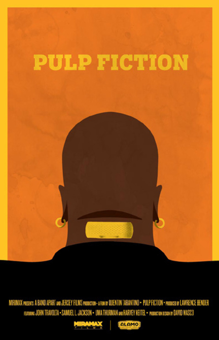 "Movie poster for ""Pulp Fiction"" with back of character's head. LSU BFA Studio Art Graphic Design"