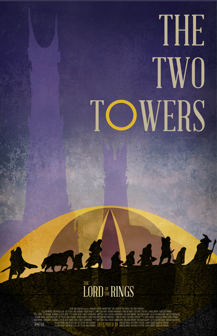 Movie poster for The Two Towers Lord of the Rings movie. LSU BFA Studio Art Graphic Design
