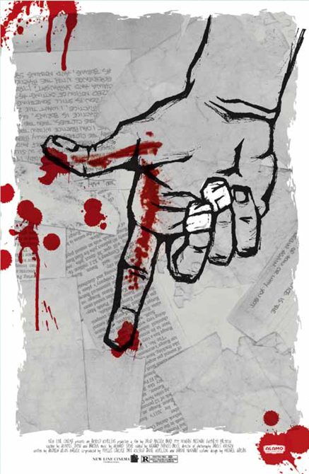 Drawing of hand with bloody index finger, text pages layered in background. LSU BFA Studio Art Graphic Design