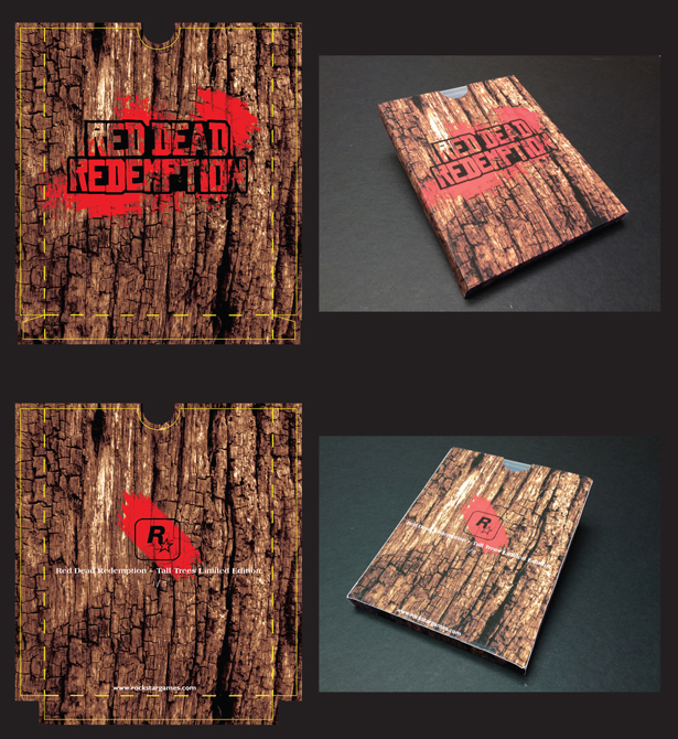 "Packaging with wood bark background, text ""Red dead redemption"", LSU BFA Studio Art Graphic Design"