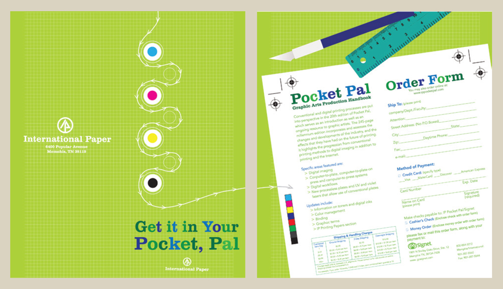 Lime green pocket pal order form, LSU BFA Studio Art Graphic Design