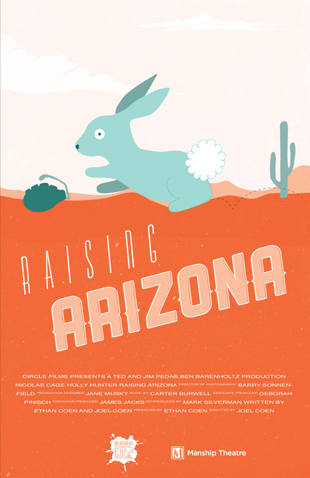 Raising Arizona movie poster with blue rabbit, cactus, orange background, LSU BFA Studio Art Graphic Design