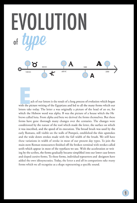 Evolution of type layout. LSU BFA Studio Art Graphic Design
