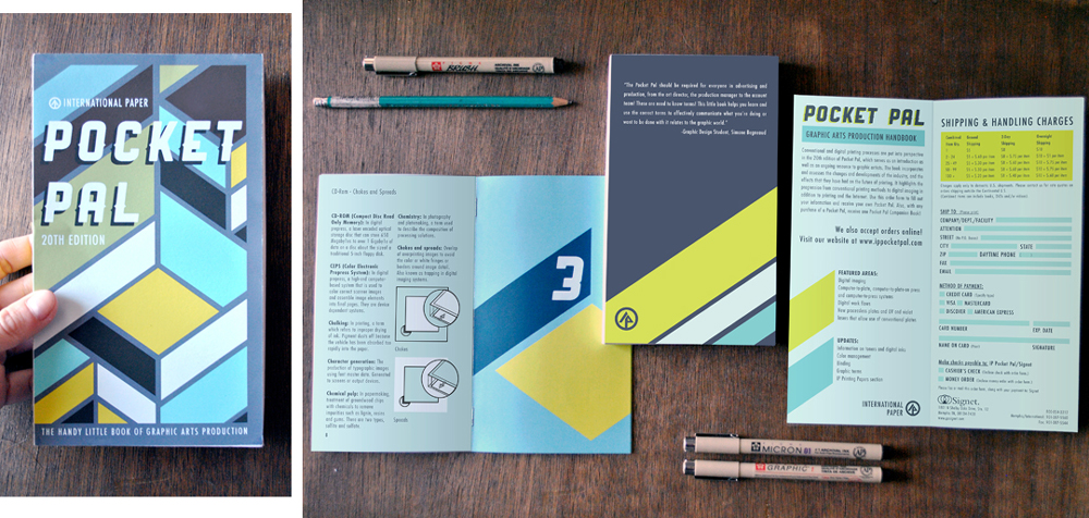 Pocket pale geometric brochure design, LSU BFA Studio Art Graphic Design