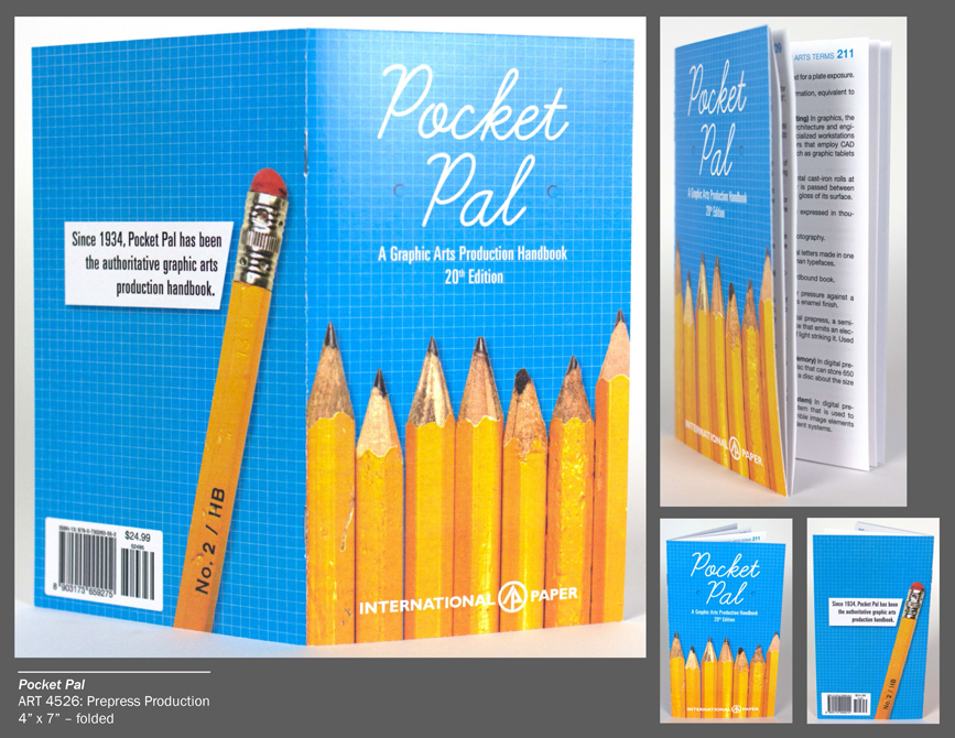 Pocket pal graphic handbook design with pencils, blue graph paper background. LSU BFA Studio Art Graphic Design