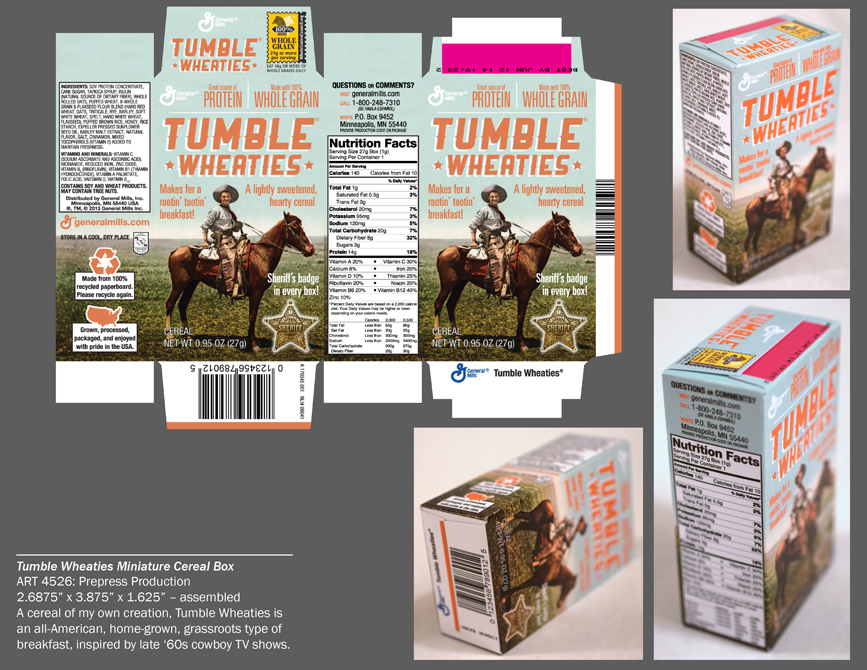 Tumble wheaties cereal box design. LSU BFA Studio Art Graphic Design