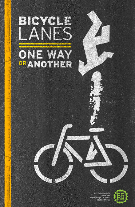 "Poster ""Bicycle Lanes: One way or another"" - LSU BFA Studio Art Graphic Design"