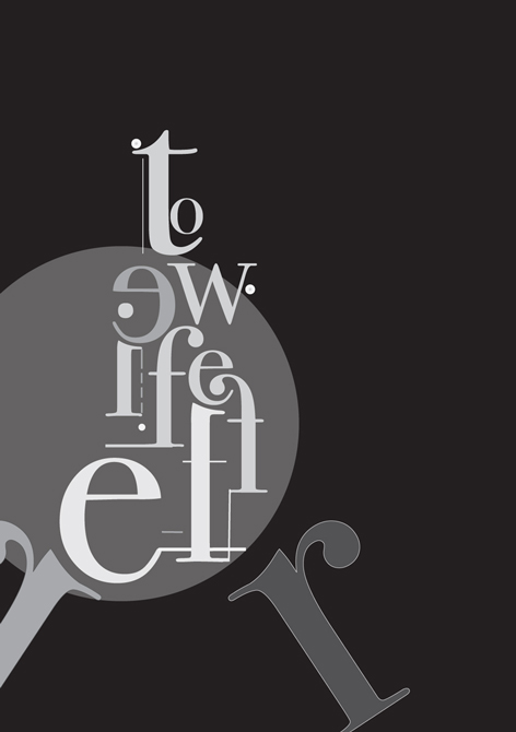Poster with black background, gray and white letters. LSU BFA Studio Art Graphic Design