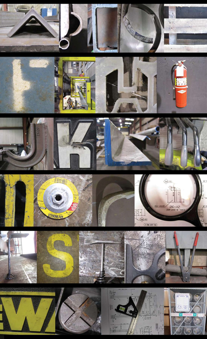 Photographs of industrial shapes resembling letters of the alphabet. LSU BFA Studio Art Graphic Design
