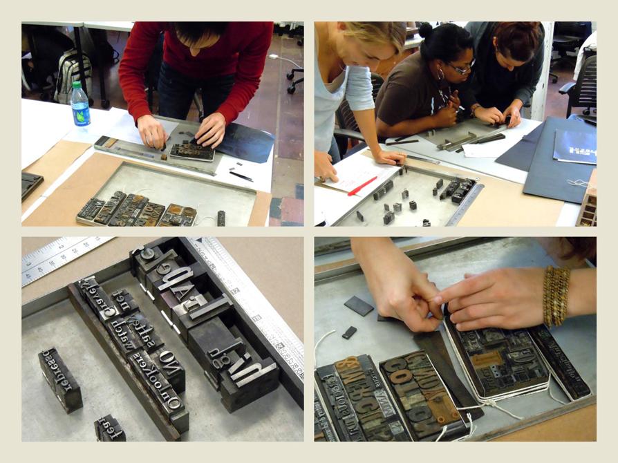 Closeup of hands laying out print types. LSU BFA Studio Art Graphic Design