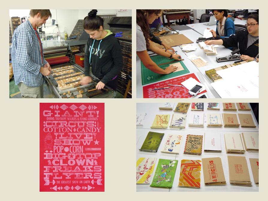 Photos of students using printmaking tech. LSU BFA Studio Art Graphic Design