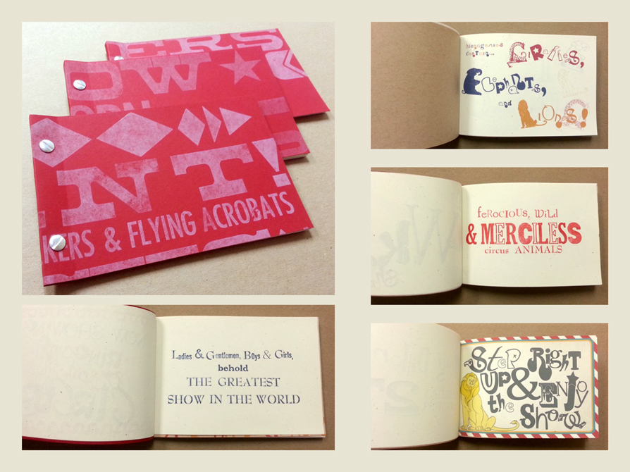 book design pages with red and pink cover, illustrated pages. LSU BFA Studio Art Graphic Design